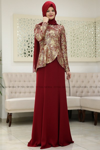 Beyza Abiye - Bordo - Som Fashion
