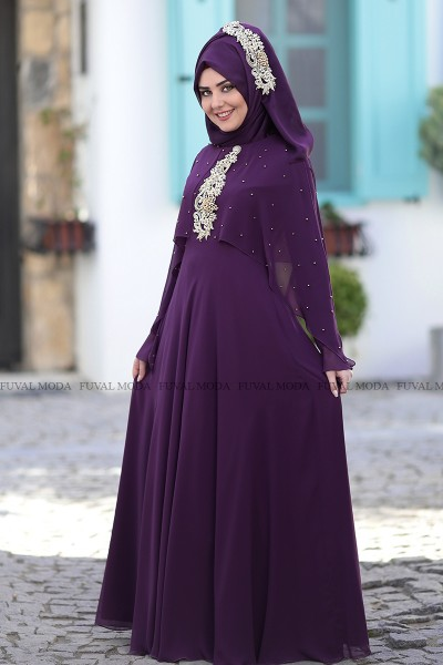 Nur Abiye - Mor - Som Fashion