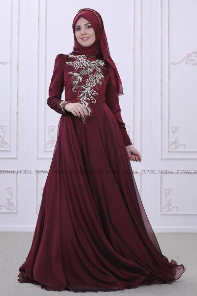 Safir Abiye - Bordo - Som Fashion