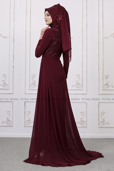 Zambak Abiye - Bordo - Som Fashion