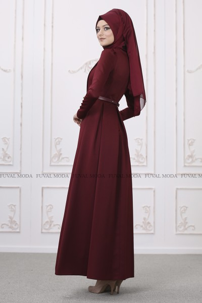 Zerafet Abiye - Bordo - Som Fashion
